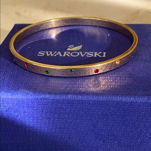 Swarovski Gold Bangle Bracelet w/ Pave Crystals